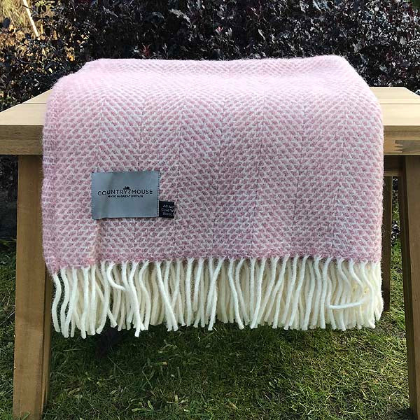 Dusky Pink Beehive Pure New Wool Throw