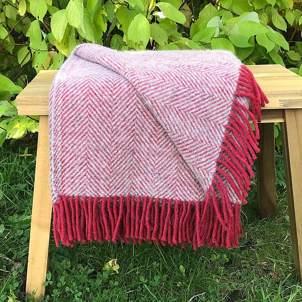 Red and grey wool throw