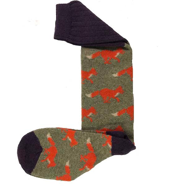 Sage running fox knee length socks