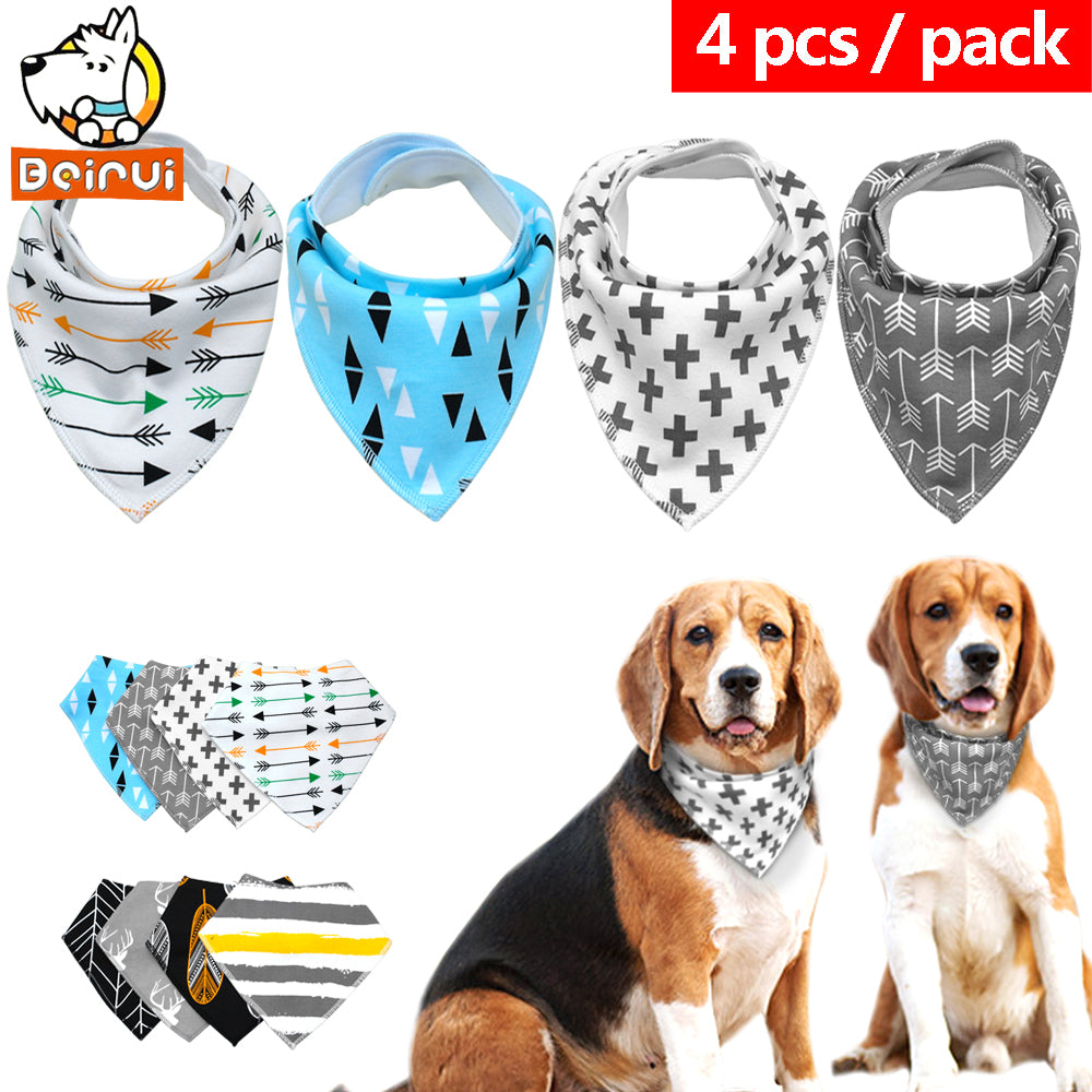 4pcs Dog Bandanas