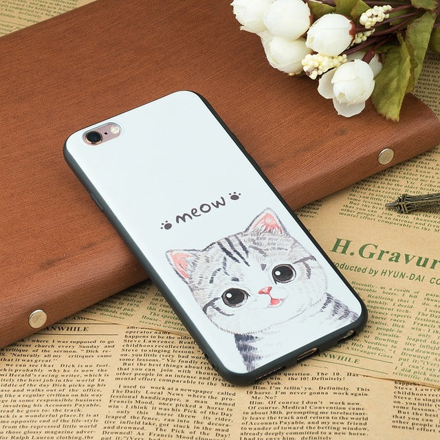 Cat Patterned Silicon Iphone cover