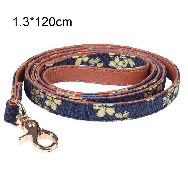 pawstrip Golden Flower Bow Dog Collar Leash 0.5inch Width Soft Leather Dog Leash Bandana Lead For Small Puppy