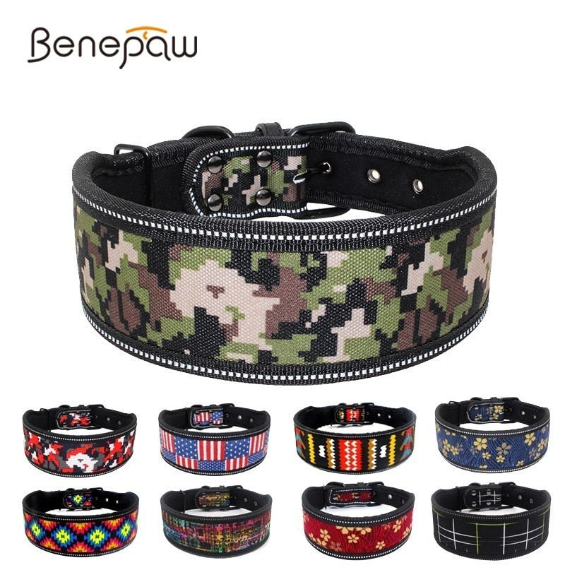 Benepaw Reflective Waterproof Camouflage Dog Collars For Small Medium Big Dogs Breathable Soft Padded Pet Collar Lead Supplies
