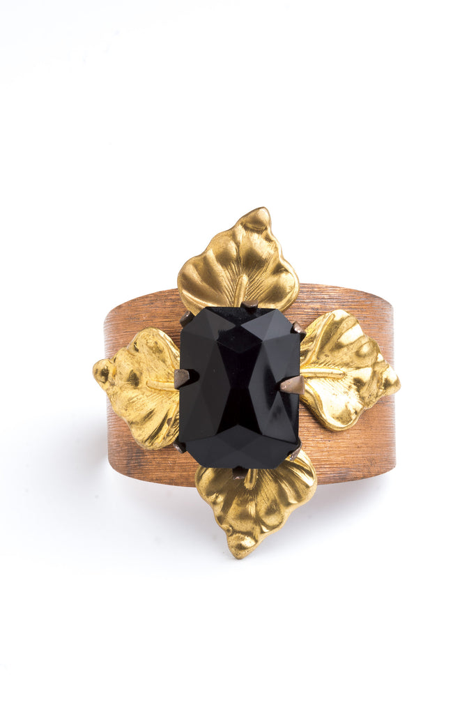 Black Lily Cuff of Vintage Bohemian Jet Jewel and Vintage Lilly