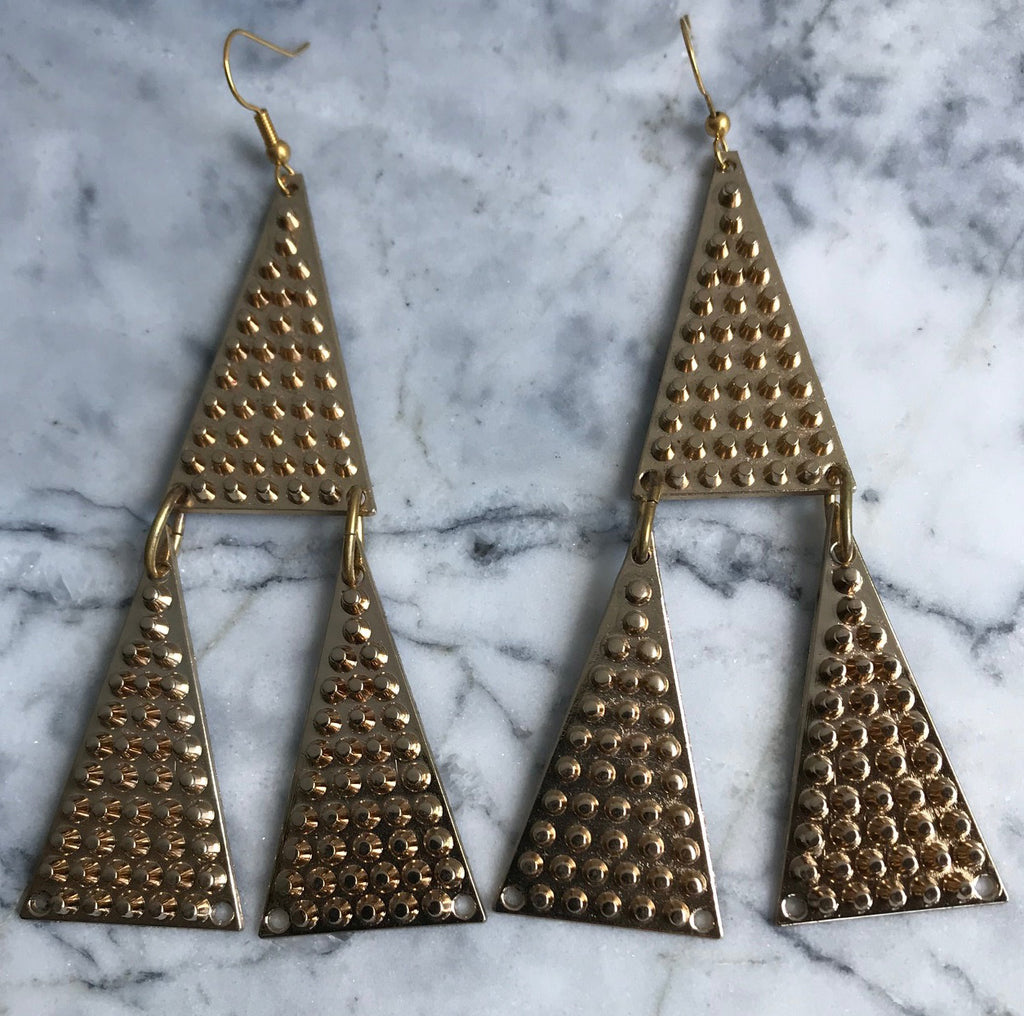 Our Golden Triangle Earrings are that perfect addition to your Vintage Industrial vibe