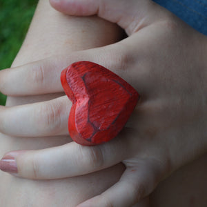 A Big Red Heart Ring spells L.O.V.E. on Valentines Day