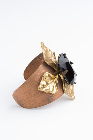 Black Lily Cuff Vintage Bohemian luxe Jewellery by Ghost and Lola made in Australia
