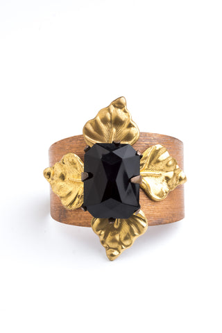 Black Lily Cuff Vintage Bohemian luxe jewelery by Ghost and lola