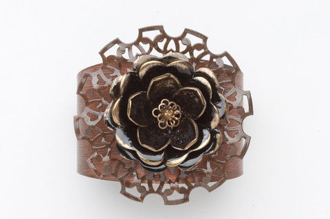 Vintage Flower Cuff |Copper Bracelet | Upcycled Artisan Jewellery
