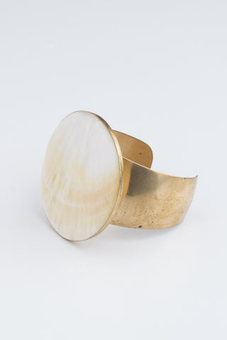 Mother of Pearl Disc | Vintage Brass Cuff | Artisan Jewellery | Eco-Chic | Bohemian