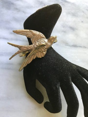 Bird Cuff | Bird Bracelet | Golden Bird | Vintage Swallow | Gold Enamel | Brass Cuff | Statement Jewelry | Bohemian Luxe Style | Artisan