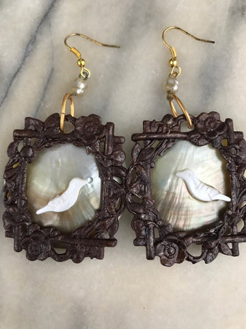 Vintage Bird Earrings | Mother of Pearl Jewelry | Bird in the Bush | Artisan Design