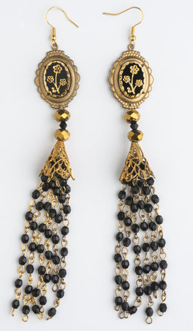 Golden Grail earrings by Ghost and Lola Vintage Boho Luxe Jewelery