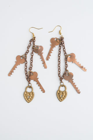 Under Lock and Key Earrings by Ghost and Lola Vintage Artisan Statement jewellery