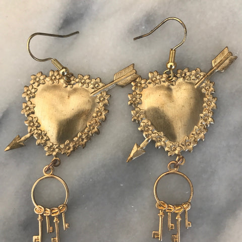 Heart earrings | Valentines Day | Vintage Valentine | Bohemian Style
