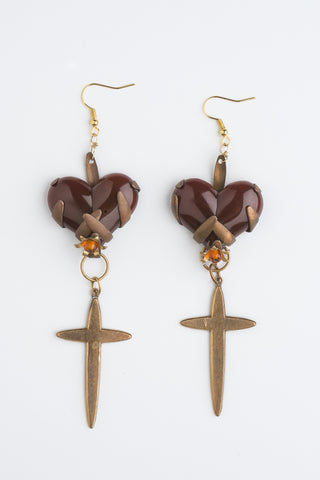 Vintage Heart Earrings for Valentines Day Boho luxe by Ghost and Lola