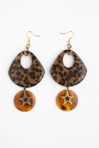 Boho luxe Chic Earrings | Statement Jewelry | Artisan metalsmith | Leopard Skin