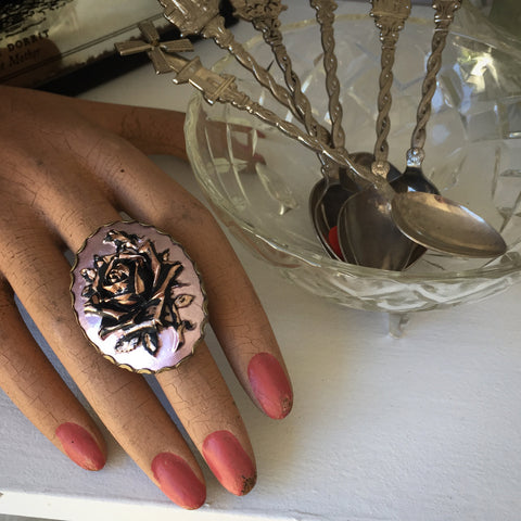 Vintage Rose Cameo ring by Ghost and Lola | Bohemian Luxe Jewellery