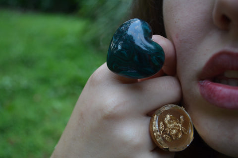 Malachite Vintage Heart Ring says I love You this Valentines Day