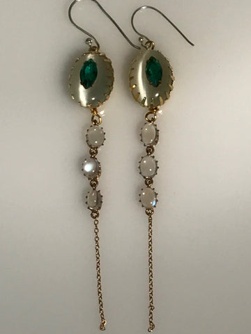 moonstone and emerald earrings for a bride on her special day