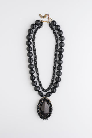Vintage Dark Bohemian Necklace | Black Bead and Pendant Jewellery
