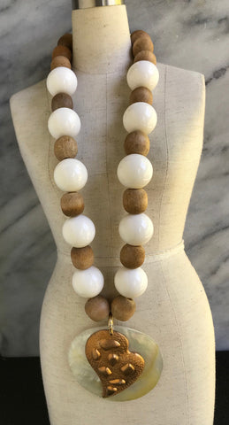 Mother of pearl necklace | Vintage Bohemian Luxe Design | Artisan Handmade