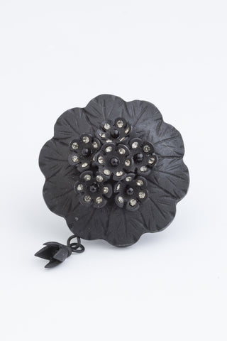 Victorian Mourning jewelry | Vintage artisan Art | Black Flower Ring |