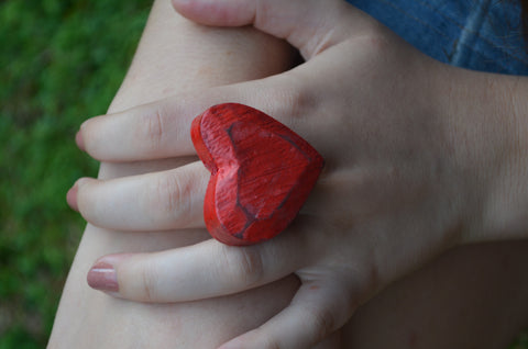 Valentines Day Vintage Heart Ring for your Sweetheart Bohemian Red XL Heart