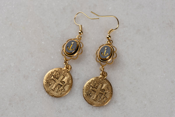 Gold Medallion Earrings | Vintage Upcycled Jewellery |  Bohemian Style