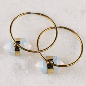 Opal Earrings | Hoop Earrings | Vintage Earrings