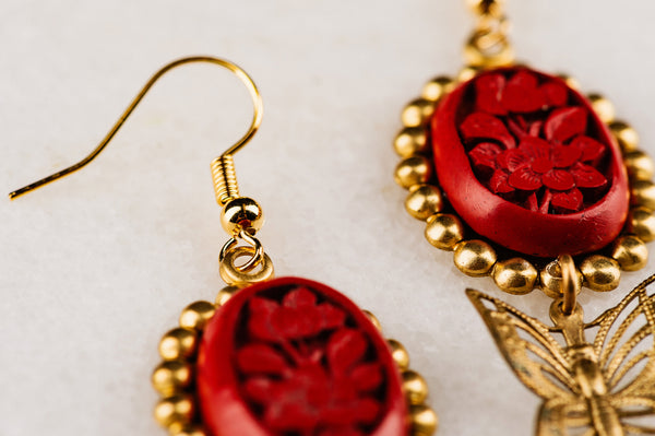 Cinnabar Butterfly Earrings