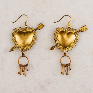 Heart Earrings | Vintage Bohemian Luxe Jewellery | Handcraft Jewellery