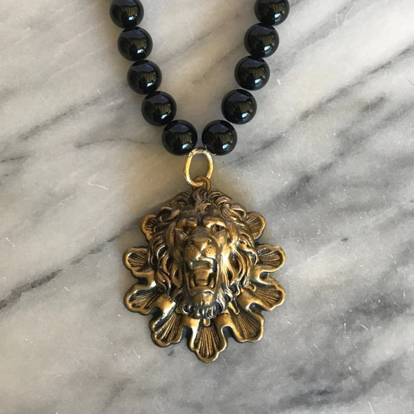 Lion Necklace | Vintage Bohemian Style | Eco jewellery | Handmade Artisan