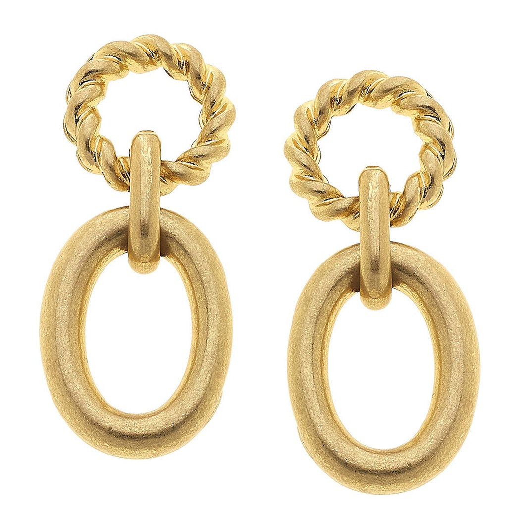 Claire Twisted Rope Drop Earrings in Worn Gold
