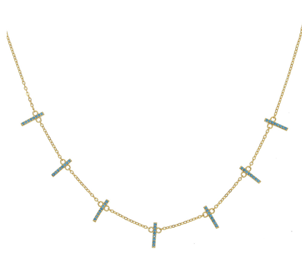 The Henley - Turquoise Pave Bar Necklace
