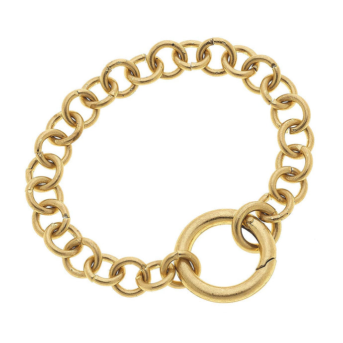 Zoe Spring Ring Chain Bracelet in Worn Gold