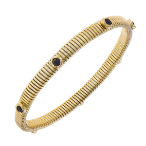 Thin Snake Bracelet with Stones - Black