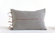 Load image into Gallery viewer, Ticking Striped Pillow w/ Leather Trim