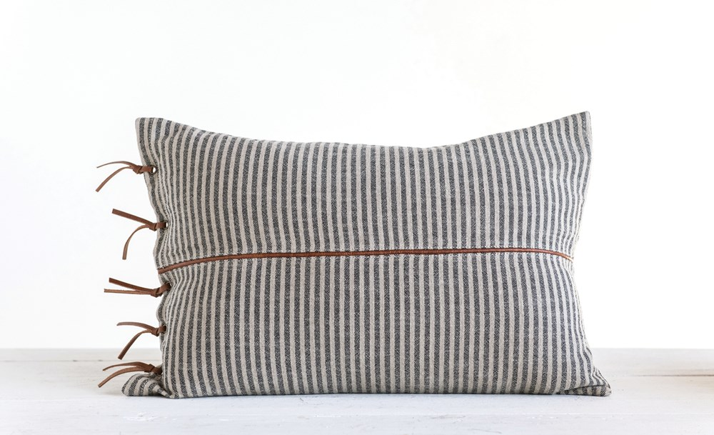 Ticking Striped Pillow w/ Leather Trim