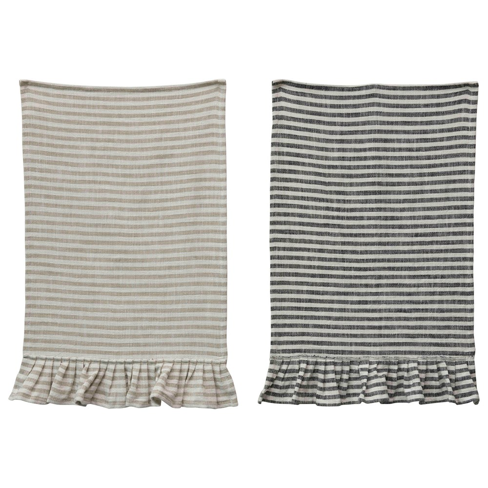 Cotton Striped Ruffle Tea Towel