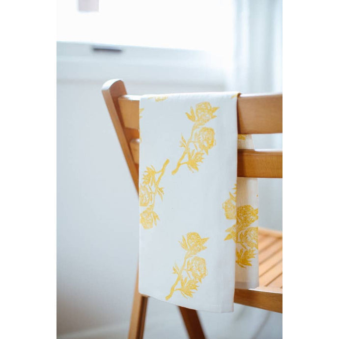 Peonies Tea Towel - Gold