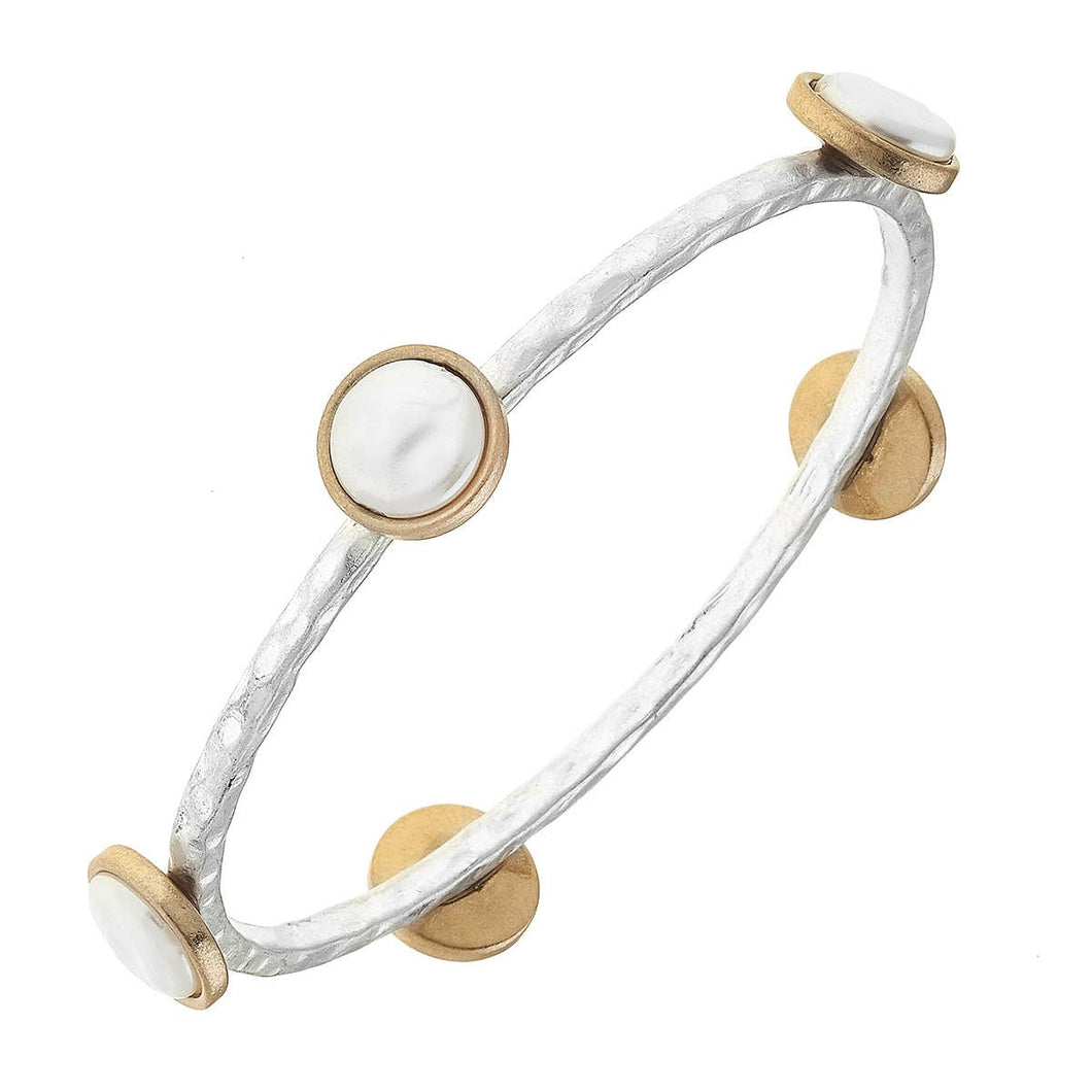 Coin Pearl Bangle in Two-Tone