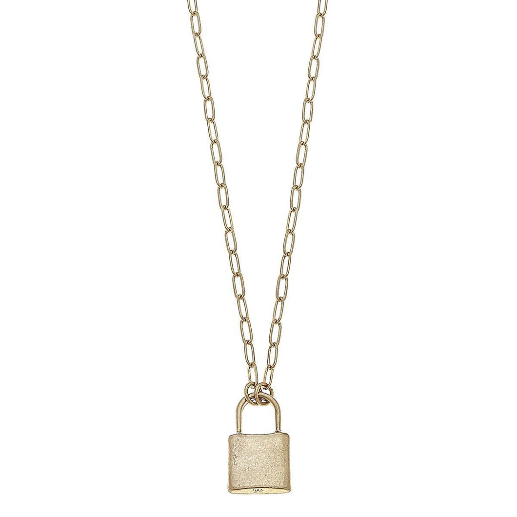 Emerson Padlock Paperclip Chain Necklace