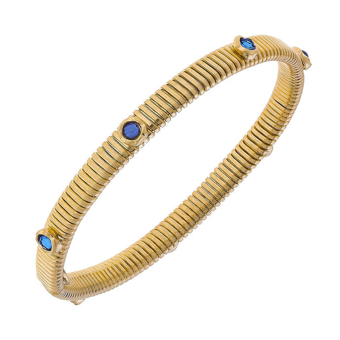 Thin Snake Bracelet with Stones - Blue