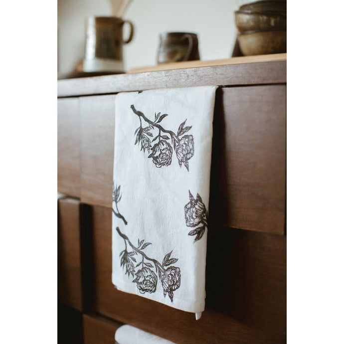 Peonies Tea Towel - Black and White