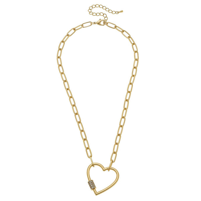Lola Heart Screw Lock Necklace In Worn Gold