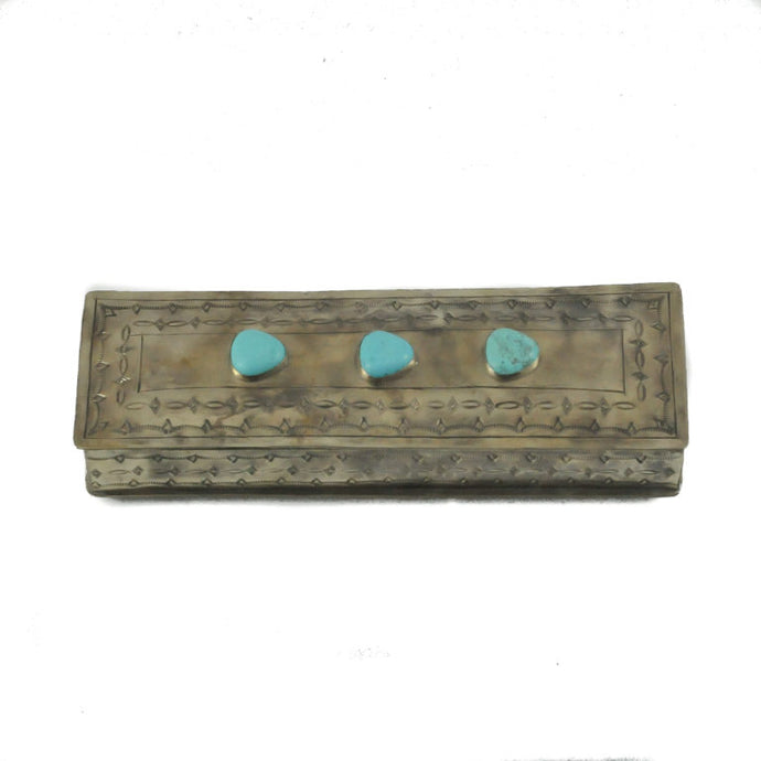 Stamped Box with 3 Turquoise Stones