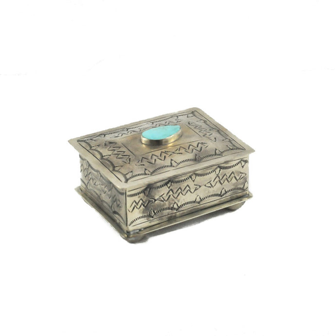 Stamped Turquoise Silver Box