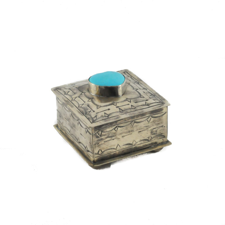 Stamped Silver Box with Turquoise Heart