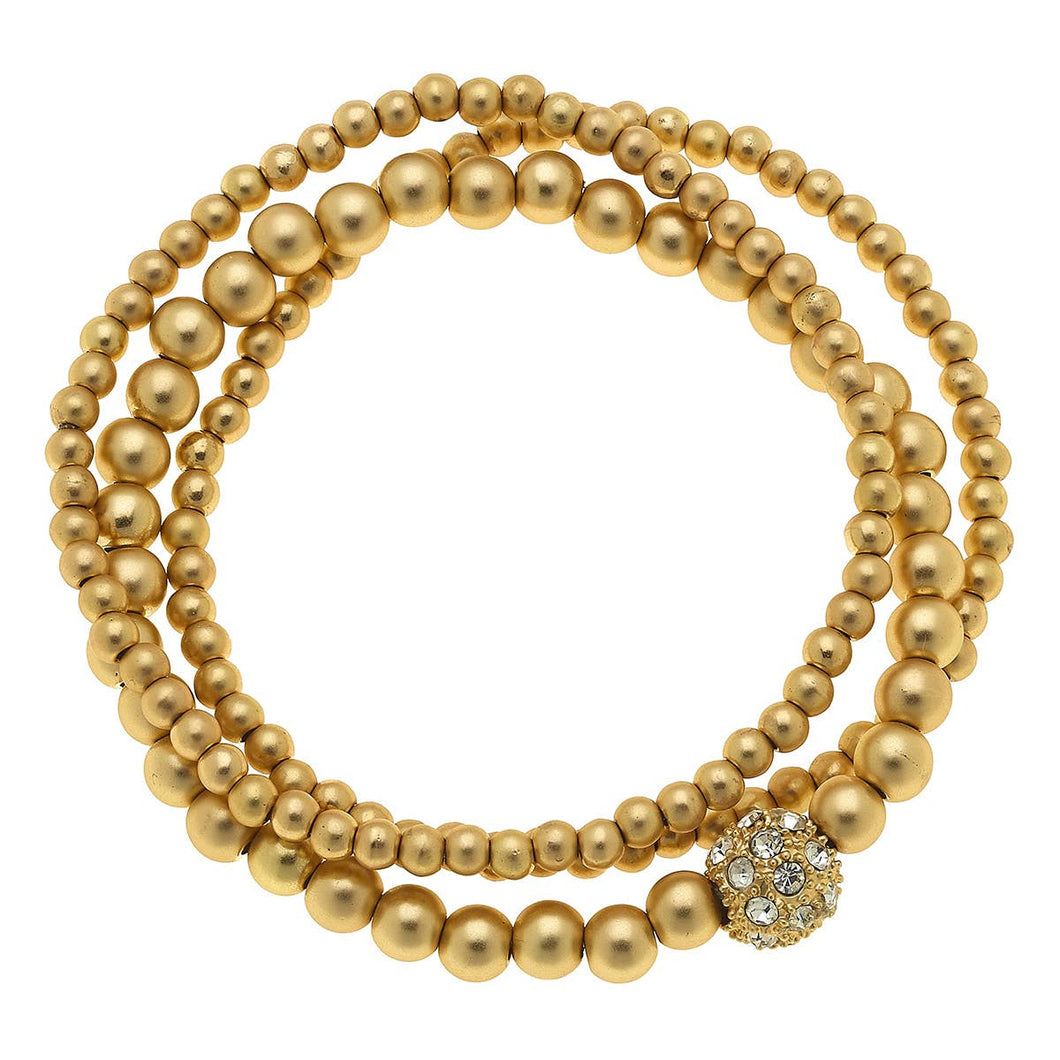 Ball Bead and Pave Bead Bracelets - Set of 3 Gold